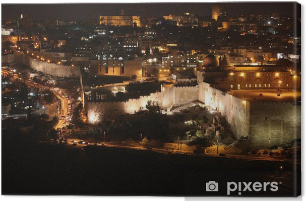 Lerretsbilde Natt i Jerusalem gamle by, Tempelfjellet med Al-Aqsa-moskeen, v - Private Hjem