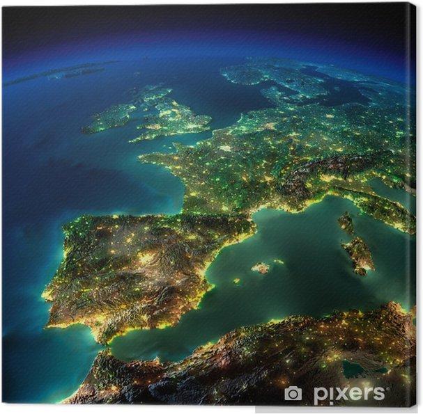Lerretsbilde Night Earth. Et stykke av Europa - Spania, Portugal, Frankrike - iStaging