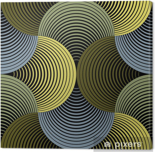Lerretsbilde Ornate Geometric Petals Grid, Abstrakt Vector Sømløs Mønster -