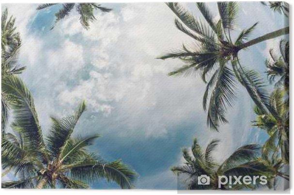 Lerretsbilde Palm treplater mot himmelen - Planter og Blomster