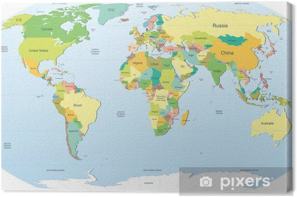 Super Lerretsbilde Politisk verdenskart i farger • Pixers® - Vi lever AA-91