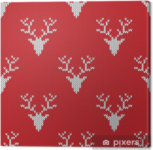 e69ef207 Lerretsbilde Rød strikket genser med hjort sømløs mønster • Pixers ...
