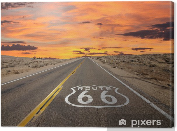 Lerretsbilde Route 66 Pavement Sign Sunrise Mojave Desert -