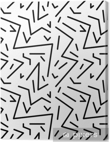 Lerretsbilde Seamless geometrisk vintage mønster i retro 80s stil, memphis. Ideell for stoffdesign, papirutskrift og nettstedets bakteppe. EPS10 vektorfil - Grafiske Ressurser
