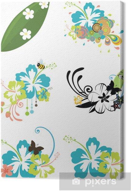 a6ed85c1 Lerretsbilde Seks designelementer med hawaiiske blomster på sommertema