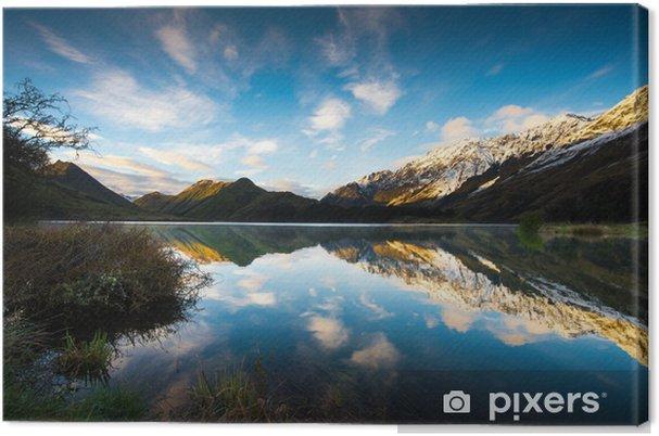 Lerretsbilde Soloppgang og refleksjon Utsikt over Moke Lake nær Queenstown New Zea -