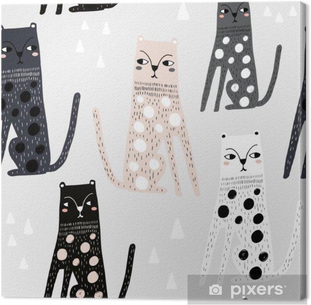 c4afc0255 Lerretsbilde Sømløs barnslig mønster med morsomme leoparder. kreative  skandinaviske barn tekstur for stoff, innpakning, tekstil, tapet, klær. ...