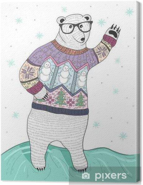 df361c80 Lerretsbilde Søt hipster isbjørn med briller og jule genser - Grafiske  Ressurser