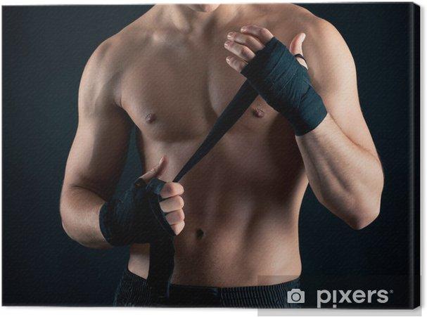6940d830 Lerretsbilde Sportsman bokser intense studio portrett mot svart bakgrunn -  Themes