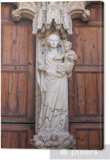 Lerretsbilde Statue Av Jomfru Maria Med Jesus Barn I Palma De