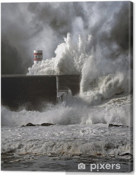 Lerretsbilde Stormfulle bølger - Lighthouse