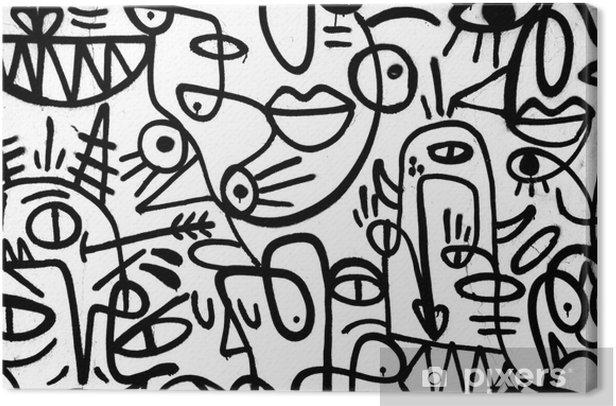Lerretsbilde Svart-hvitt mønster graffiti på veggen.spain, jerez, januar 2018.interessant bakgrunn - Grafiske Ressurser