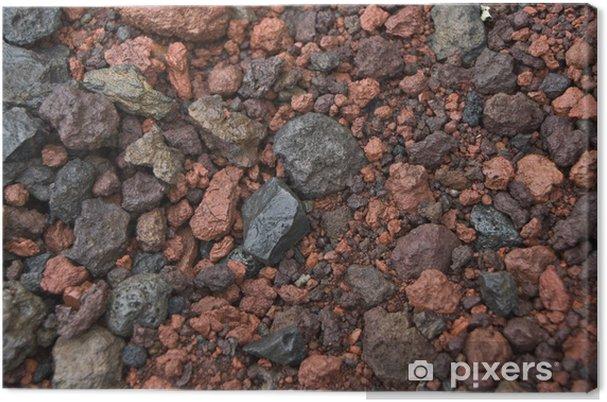48d0679e Lerretsbilde Svart og rødt vulkansk grus, Island - Tekstur på overflaten