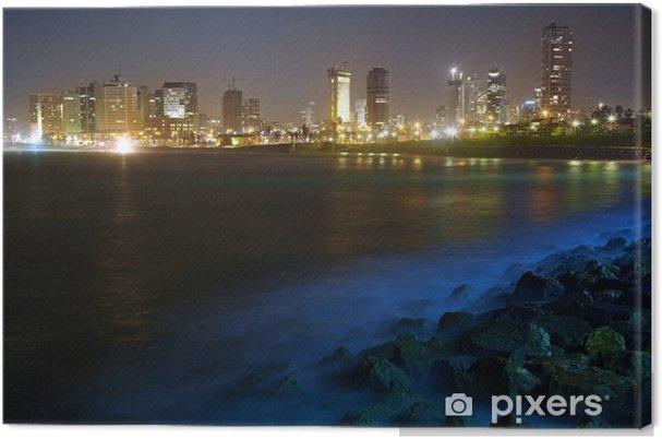 Lerretsbilde Tel Aviv. Nattutsikt fra Jaffa - Midtøsten