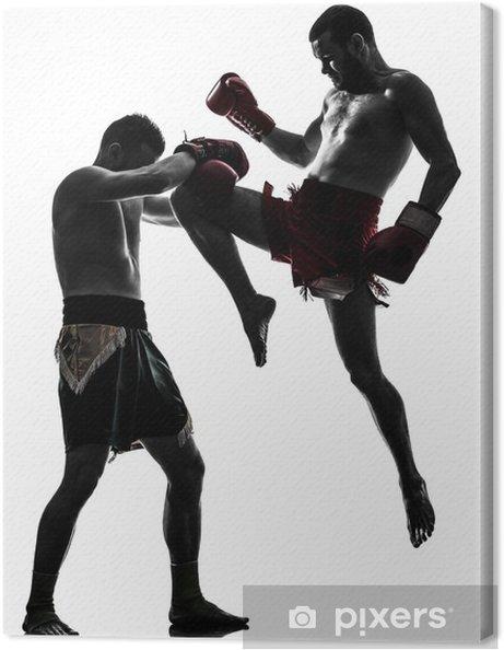 0bc836cc Lerretsbilde To menn trener thai boksing silhuett • Pixers® - Vi ...