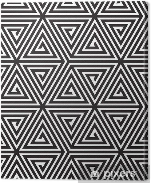 Lerretsbilde Triangler, Svart-hvitt Abstract Sømløs geometrisk mønster, -