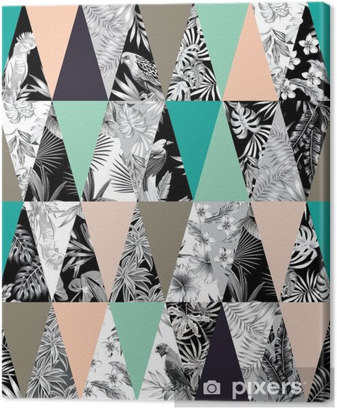 Lerretsbilde Tropisk patchwork sømløs bakgrunn - Dyr