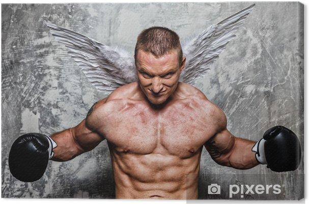 79f234d7 Lerretsbilde Ung bokser med engelvinger bak ryggen • Pixers® - Vi ...