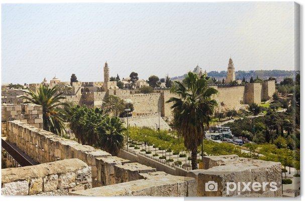 Lerretsbilde Utsikt fra murene i det gamle Jerusalem, Israel - Midtøsten