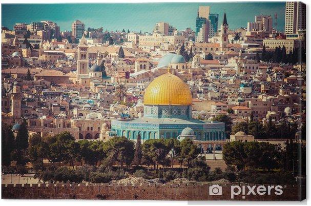 Lerretsbilde Utsikt over Jerusalem, Rockens kuppel, Oljefelt, Israel - Midtøsten