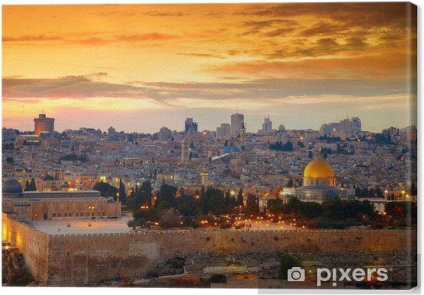 Lerretsbilde Utsikt til gamlebyen i Jerusalem. Israel -
