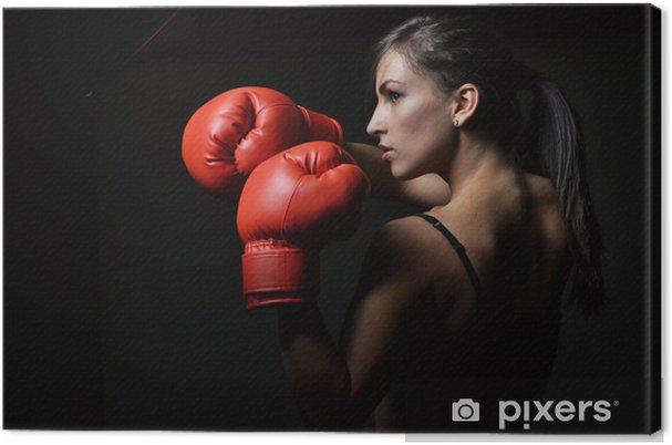 7cdd88b5 Lerretsbilde Vakker kvinne med de røde boksehanskene • Pixers® - Vi ...