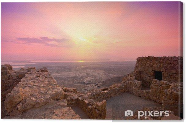 Lerretsbilde Vakker soloppgang over gamle Masada festning i Israel - Midtøsten