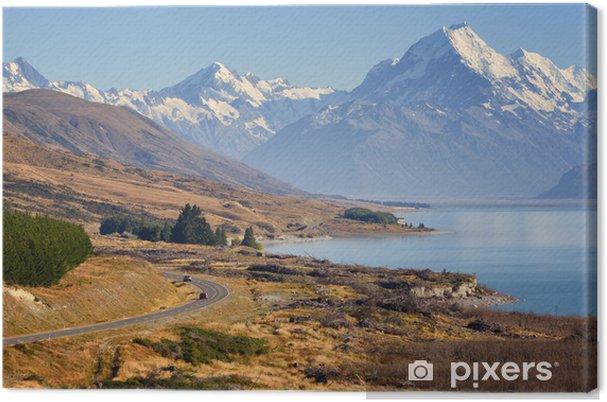 Lerretsbilde Vei til Mount Cook, New Zealand - Oseania