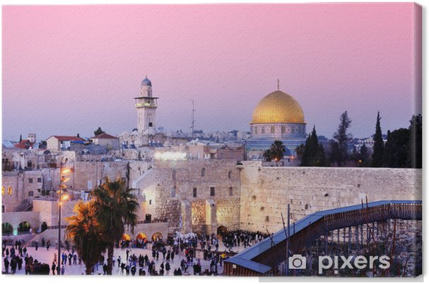 Lerretsbilde Vestmuren og Dome of the Rock i Jerusalem, Israel -