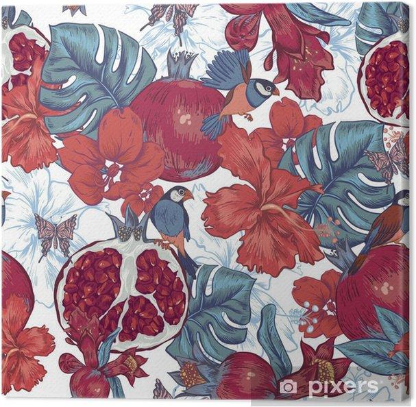 Lerretsbilde Vintage sømløs bakgrunn, tropisk frukt, blomster, sommerfugl - Planter og Blomster