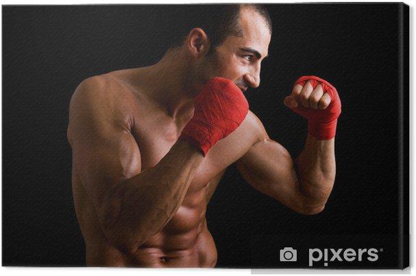 47716bcb Lerretsbilde Young Boxer fighter over svart bakgrunn • Pixers® - Vi ...