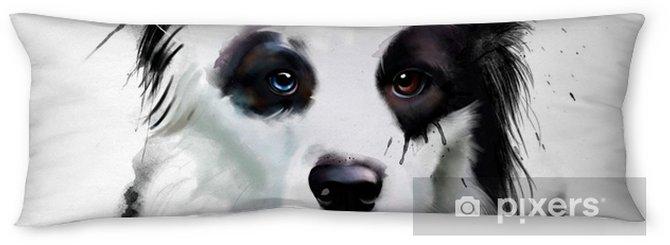 Lichaamskussen Aquarel hond portret van een border collie, close-up op een witte achtergrond, met elementen van druppels en verf spatten - Dieren