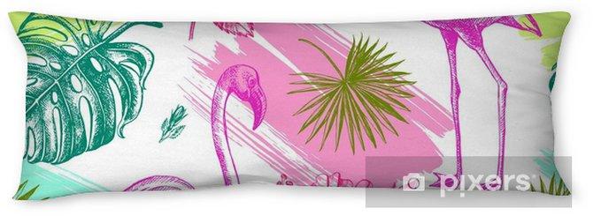 Lichaamskussen Decoratieve naadloze patroon met inkt handgetekende tropische hibiscus bloemen, bladeren en flamingo vogel. vectorillustratie - Grafische Bronnen