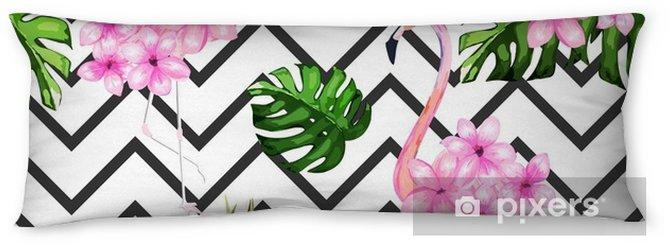 Lichaamskussen Exotische zomerprint. naadloze patroon met tropische bladeren, bloemen en flamingo. Hawaï, Miami stijl Vector illustratie - Grafische Bronnen