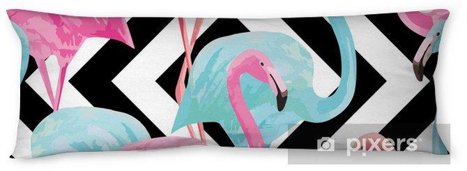 Lichaamskussen flamingo watercolor pattern, geometric background - Vogels