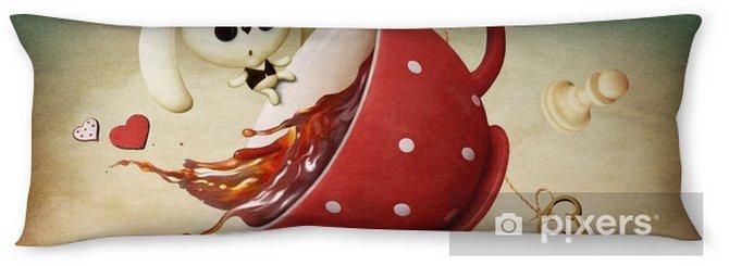 Lichaamskussen Illustratie van fantasie met rode kop thee en konijn - Grafische Bronnen