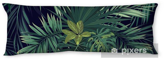 Lichaamskussen Naadloze hand getekend botanische exotische vector patroon met groene palmbladeren op donkere achtergrond. - Bloemen en Planten
