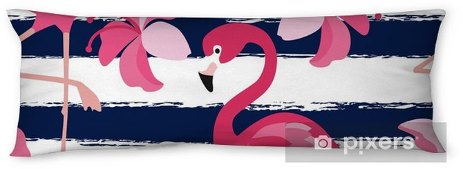 Lichaamskussen Naadloze patroon met donker blauwe grunge strepen en roze flamingo. roze flamingo vector achtergrondontwerp voor stof en decor. vector trendy illustratie. - Grafische Bronnen