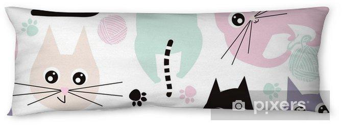 Lichaamskussen Naadloze patroon met grappige katten. kinderstof textuur. vectorillustratie - Grafische Bronnen