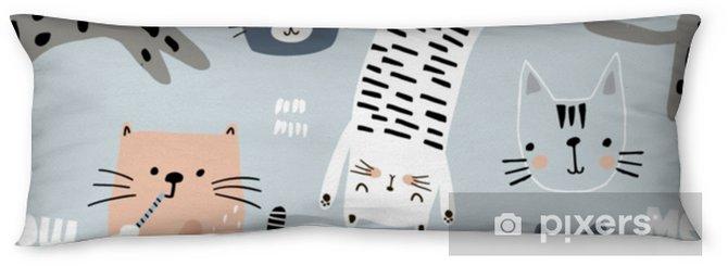 Lichaamskussen Naadloze patroon met verschillende grappige katten. creatieve kinderachtige textuur. geweldig voor stof, textiel vectorillustratie - Grafische Bronnen