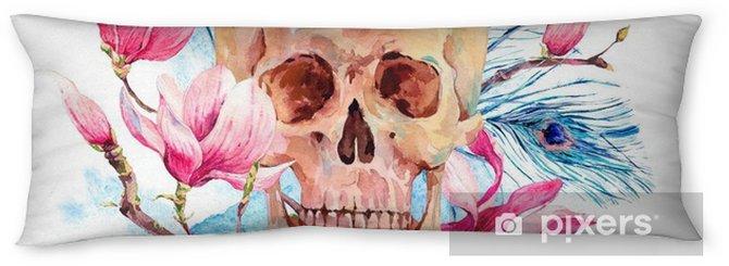 Lichaamskussen Waterverf menselijke schedel en roze bloemenmagnolia - Hobby's en Vrije tijd