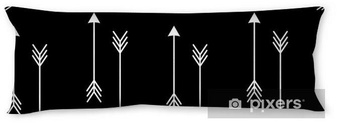 Lichaamskussen Witte pijlen op zwarte achtergrond naadloze vector patroon illustration__ - Scandinavisch