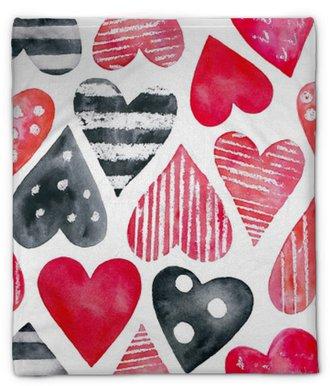 Manta de felpa Acuarela corazones de patrones sin fisuras. rojo, rosa, rosa, lunares, a rayas. símbolo de amor, hermoso, encantador, romántico, decoración de vacaciones. dibujado a mano ilustración, aislado, fondo blanco.