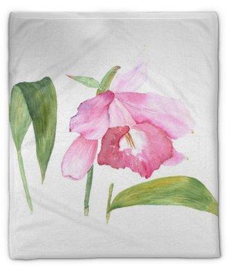 Manta de felpa Bosquejo botánico de la ilustración de la acuarela de la flor rosada del cattleya en el fondo blanco