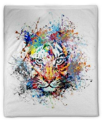 Manta de felpa Fondo brillante con el tigre