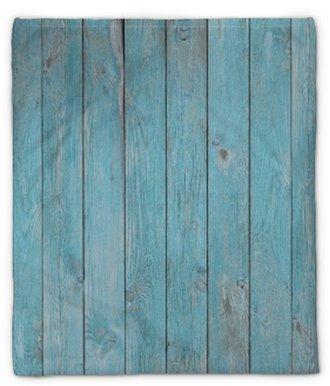 Manta de felpa Tablones de madera vieja azul textura o fondo