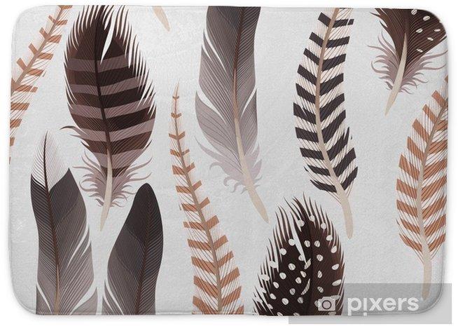 Mata łazienkowa Dekoracyjne pióra bez szwu - Zwierzęta
