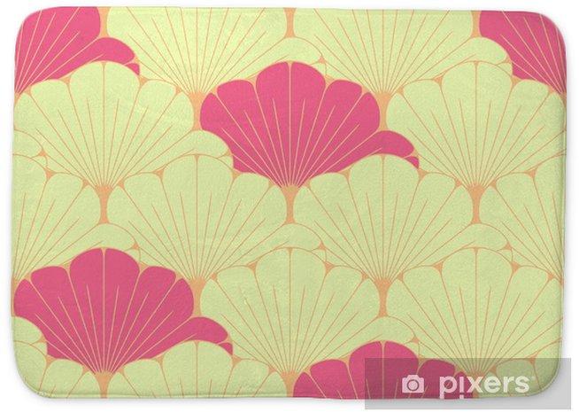 Mata łazienkowa Japoński styl bez szwu dachówka z egzotycznym wzorem liści w kolorze różowym - Zasoby graficzne