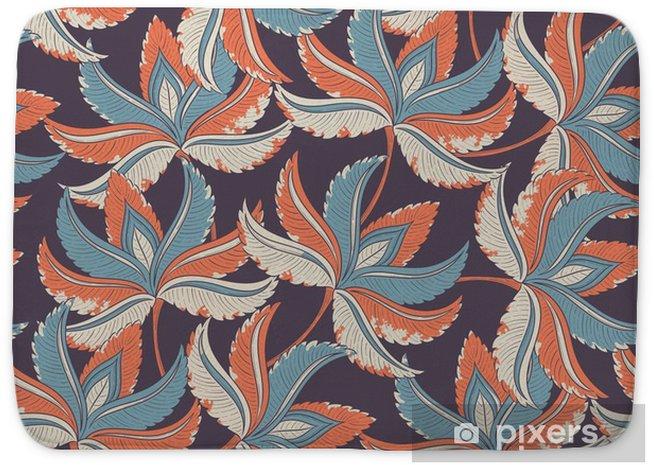 Mata łazienkowa Powtarzalne wzór retro - Rośliny i kwiaty