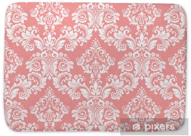 Mata łazienkowa Tapeta w stylu barokowym. bezszwowe tło wektor. biały i różowy kwiatowy ornament. graficzny wzór tkaniny, tapety, opakowania. ozdobny kwiat adamaszku - Zasoby graficzne
